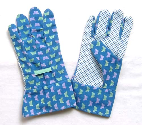Flower design garden glove Cotton Drill Work Gloves With